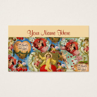 Beautiful Vintage Valentine Love Cherub Collage Business Card