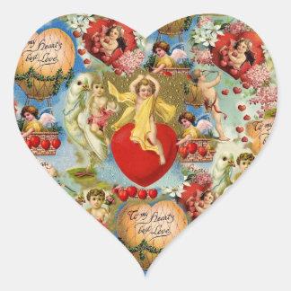 Beautiful Vintage Valentine Love Cherub Collage Heart Stickers