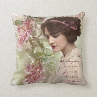 Beautiful Vintage Victorian Lady Actress Portrait Throw Pillow