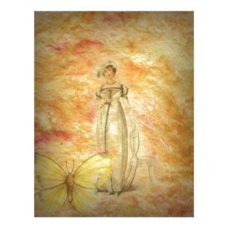 Beautiful Vintage Woman Butterfly Letterhead Template