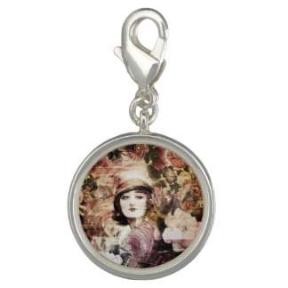 Beautiful Vintage Woman Flower Abstract Charms