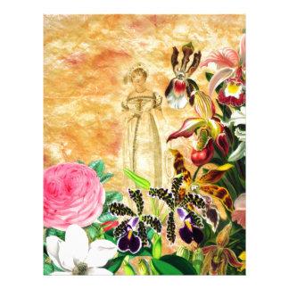 Beautiful Vintage Woman Flower Letterhead Design