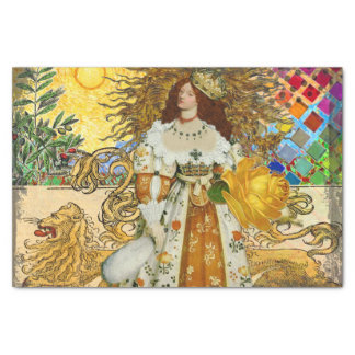 Beautiful Vintage Woman Surrealistic Leo Astrology Tissue Paper