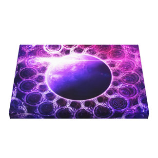 Beautiful Violet Deep Dream Fractal Mandala Planet Canvas Print