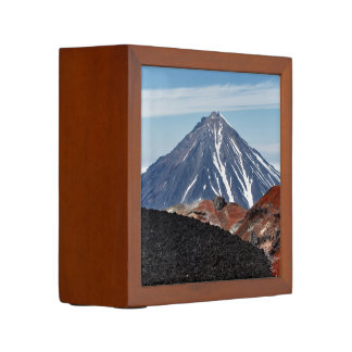 Beautiful volcanoes landscape desk organizer