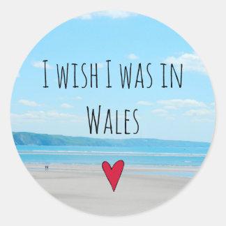 Beautiful Wales Sea Beach Landscape Aberdovey UK Classic Round Sticker