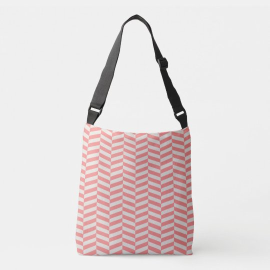 Beautiful warm pink beige zigzag geometric pattern crossbody bag