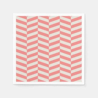 Beautiful warm pink beige zigzag geometric pattern paper napkins