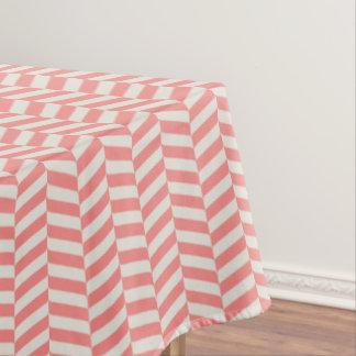 Beautiful warm pink beige zigzag geometric pattern tablecloth