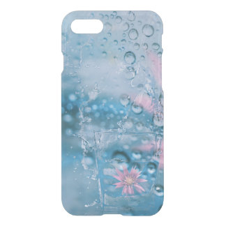 Beautiful water and drops falling glass case