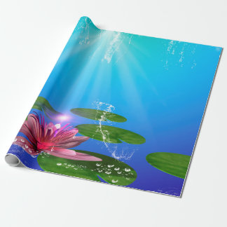 Beautiful water lily with water splash wrapping paper