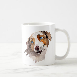 Beautiful Watercolor Blue Eyed Australian Shepherd Coffee Mug