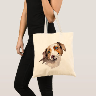 Beautiful Watercolor Blue Eyed Australian Shepherd Tote Bag
