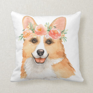 Beautiful Watercolor Corgi with Floral Wreath Throw Pillow