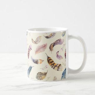 Beautiful Watercolor Feathers Pattern Coffee Mug