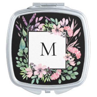 Beautiful Watercolor Floral on Black with Monogram Travel Mirrors