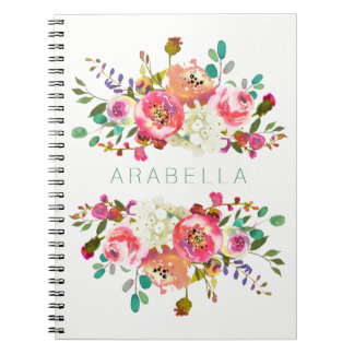 Beautiful Watercolor Floral with your Name Notebooks