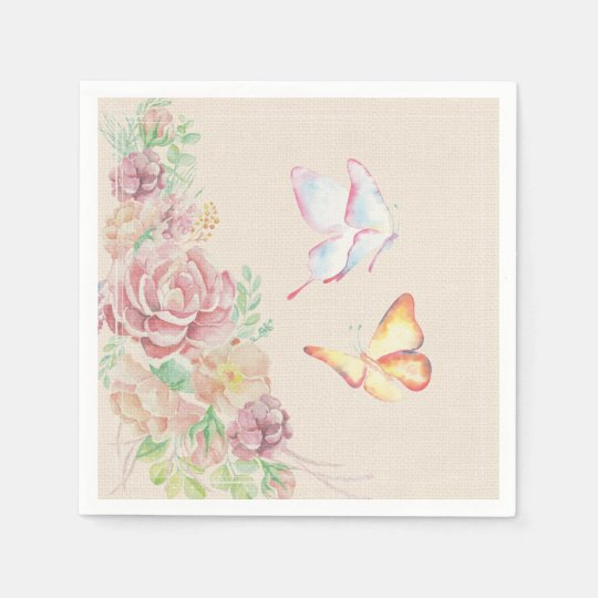 Beautiful Watercolor Flowers and Butterflies Disposable Napkins