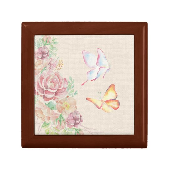 Beautiful Watercolor Flowers and Butterflies Gift Box