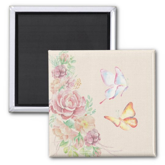 Beautiful Watercolor Flowers and Butterflies Magnet
