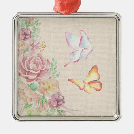 Beautiful Watercolor Flowers and Butterflies Metal Ornament