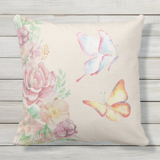 Beautiful Watercolor Flowers and Butterflies Outdoor Pillow