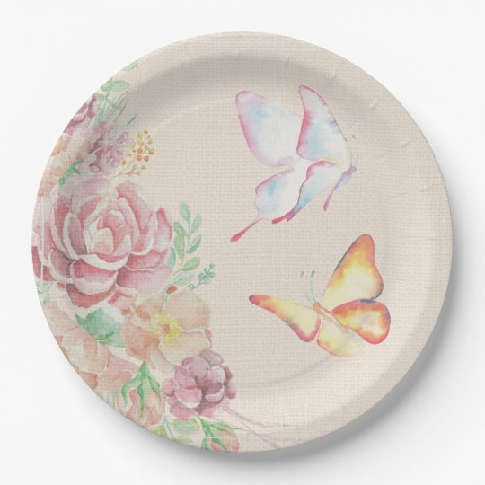 Beautiful Watercolor Flowers and Butterflies Paper Plate