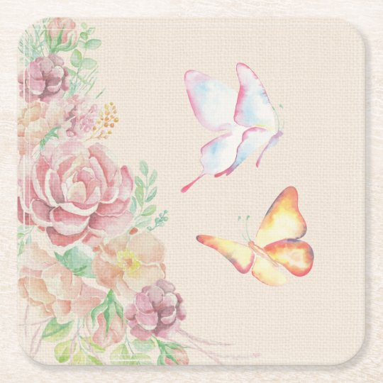 Beautiful Watercolor Flowers and Butterflies Square Paper Coaster