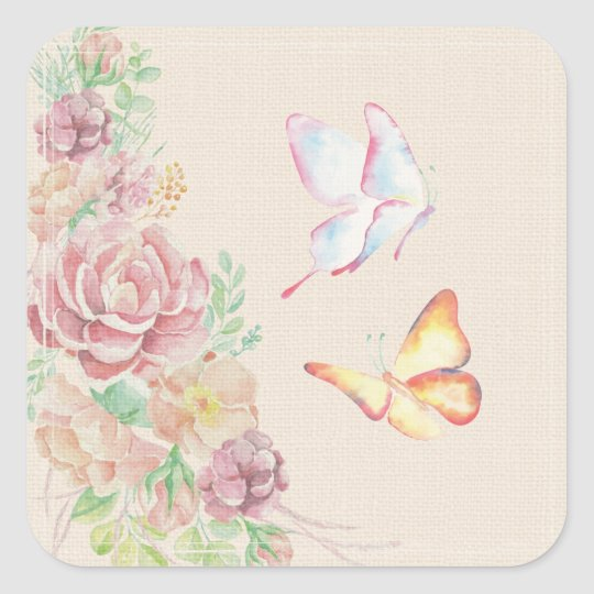 Beautiful Watercolor Flowers and Butterflies Square Sticker