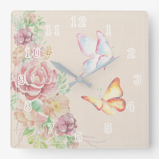 Beautiful Watercolor Flowers and Butterflies Square Wall Clock