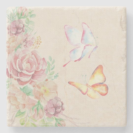 Beautiful Watercolor Flowers and Butterflies Stone Coaster