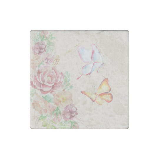 Beautiful Watercolor Flowers and Butterflies Stone Magnets