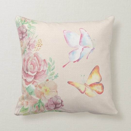 Beautiful Watercolor Flowers and Butterflies Throw Pillow