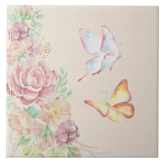 Beautiful Watercolor Flowers and Butterflies Tile