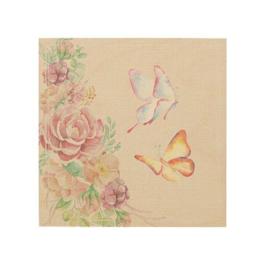 Beautiful Watercolor Flowers and Butterflies Wood Wall Art