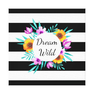Beautiful Watercolor Flowers Black Stripes Quote Canvas Print