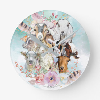 Beautiful Watercolor GOAT Collage | by GetYerGoat™ Round Clock