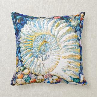 Beautiful watercolor nautilus shell throw pillow