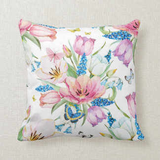 Beautiful Watercolor Painted Flowers Pillow