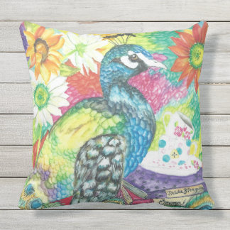 Beautiful Watercolor Peacock Pillow
