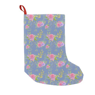 Beautiful Watercolor Png Flowers Pattern Small Christmas Stocking