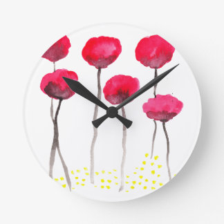 Beautiful watercolor poppies round clock