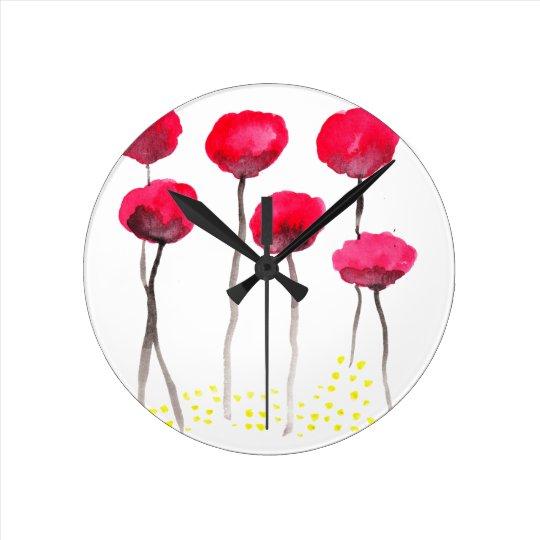 Beautiful watercolor poppies round clock