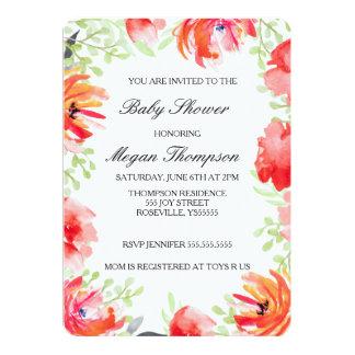 Beautiful Watercolor Poppy Flower Baby Shower Card