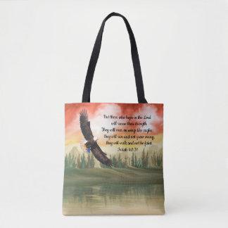 Beautiful Watercolor Soaring Eagle Isaiah 40:31 Tote Bag