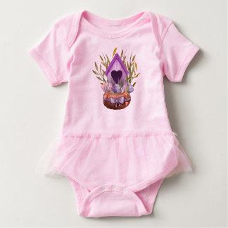 Beautiful  watercolor spring nest baby bodysuit