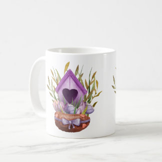 Beautiful  watercolor spring nest coffee mug