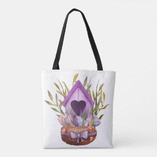Beautiful  watercolor spring nest tote bag