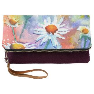 Beautiful Watercolour Daisy Clutch Bag