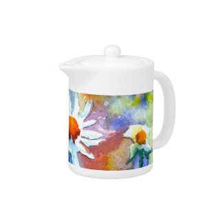 Beautiful Watercolour Floral Daisy Teapot